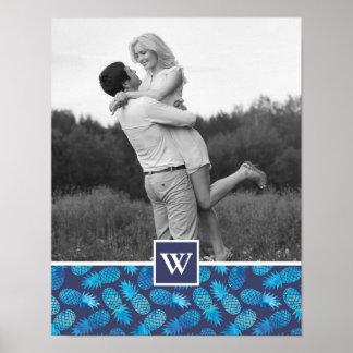 Poster Photo bleue des ananas | de colorant de cravate