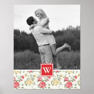 Poster Photo élégante du papier peint | de rose de rose