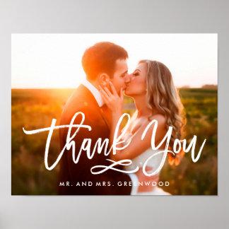 Poster Photo en lettres de Merci de main chic