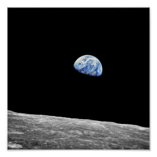 Poster Photo lunaire d'orbite de lune de la NASA Apollo 8