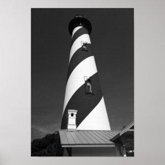 Poster Photo noire et blanche de phare de St Augustine