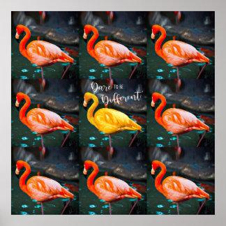 """Poster Photo rose de citation de """"défi"""" et jaune orange"""