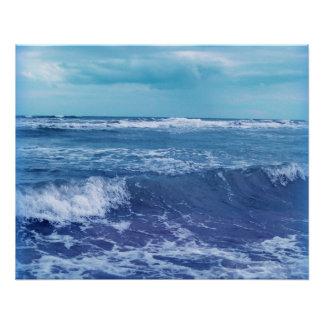 Poster Photographie bleue de ciel de nuages de vagues de