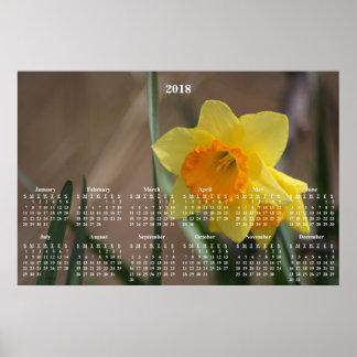 Poster Photographie d'or de jonquille de 2018 calendriers