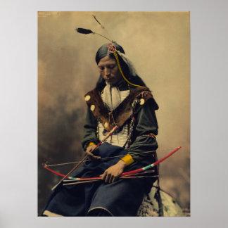 Poster Photographie vintage d'homme cherokee avec l'arc