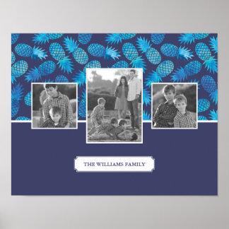 Poster Photos de famille bleues des ananas | de colorant