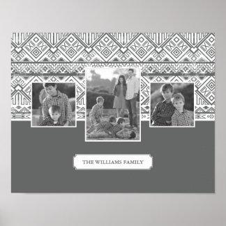 Poster Photos et texte de famille aztèques gris du motif