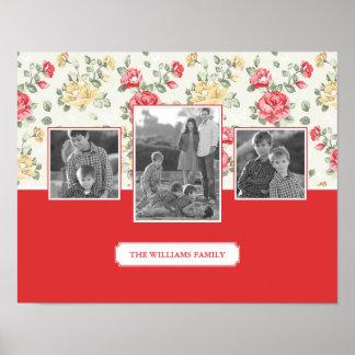 Poster Photos et texte de famille élégants du papier
