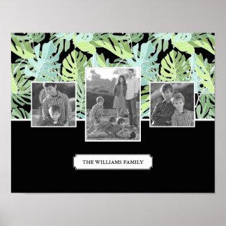 Poster Photos et texte de famille floraux du motif | de