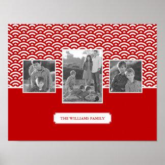 Poster Photos et texte de famille rouges du motif | de