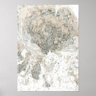 Poster Pierre ene ivoire verte blanche de marbre d'abrégé