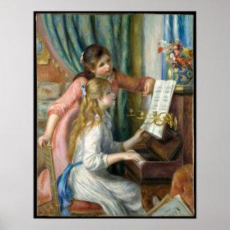 Poster Pierre Renoir - jeunes filles au piano