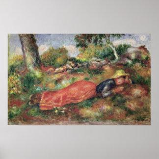 Poster Pierre une jeune fille de Renoir | dormant sur
