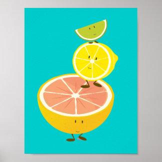 Poster Pile d'affiche de sourire des agrumes |