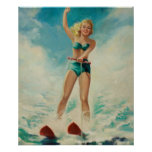 Poster Pin de ski d'eau de fille vers le haut d'art