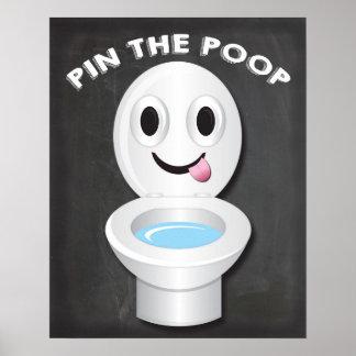 Poster Pin la dunette sur le jeu d'Emoji de toilette