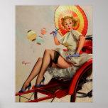 Poster Pin vintage de Rickshaw de Gil Elvgren vers le