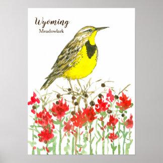 Poster Pinceau indien d'oiseau chanteur du Wyoming
