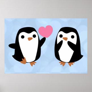 Poster Pingouins dans l'amour