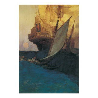 Poster Pirate vintage, attaque sur un galion par Howard