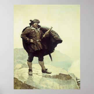 Poster Pirates vintages, capitaine Bill Bones par OR