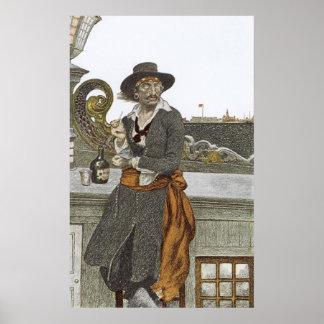 Poster Pirates vintages, Kidd sur la plate-forme de