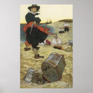Poster Pirates vintages, William Kidd enterrant le trésor