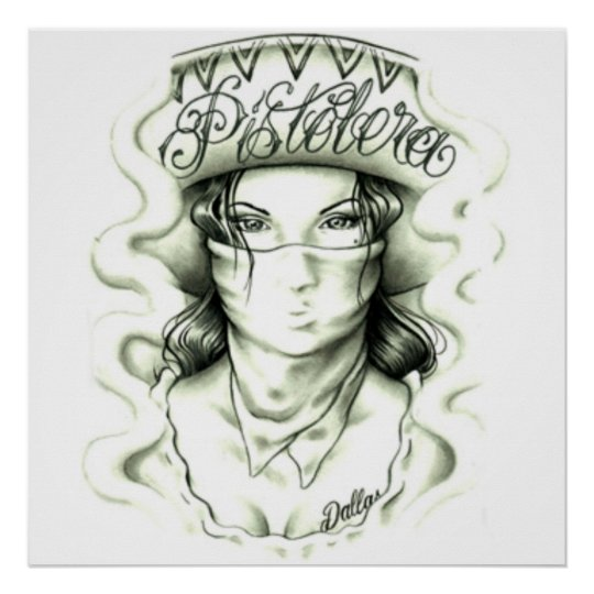Poster pistolera tattoo motif
