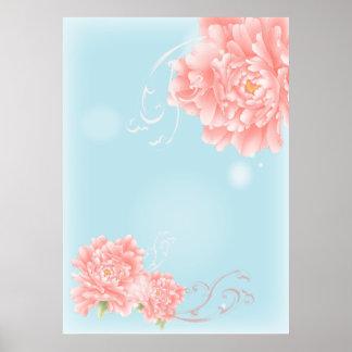 Poster pivoine florale d'aquarelle rose bleue chic de