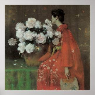 Poster Pivoines par chasse de William Merritt, beaux-arts