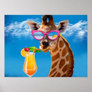 Poster Plage de girafe - girafe drôle