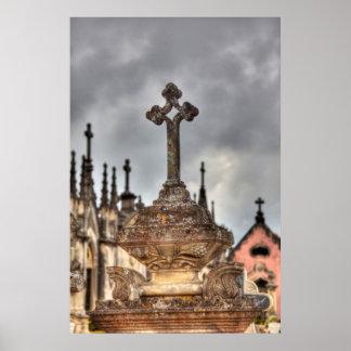 Poster Plan rapproché croisé de cimetière, Portugal