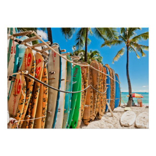 Poster Planches de surf à la plage de Waikiki, Hawaï
