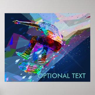 Poster Planchiste de silhouette coloré par crayon superbe