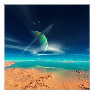 Poster Planète Newerades - réflexions d'arc-en-ciel