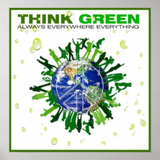 Poster Planète paisible : Pensez le vert