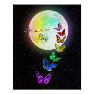 Poster Pleine lune d'arc-en-ciel et rêve de papillons