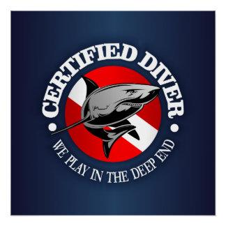 Poster Plongeur certifié (requin)