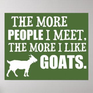 Poster Plus j'aime des chèvres
