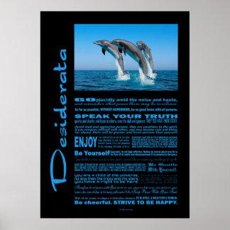 Poster Poème de desiderata vers le haut des dauphins
