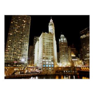 Poster Point de repère célèbre de Chicago la nuit