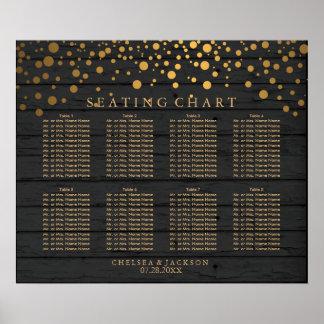 Poster Points d'or de confettis sur le diagramme de