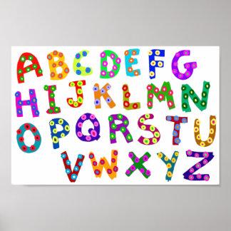 Poster Pois coloré d'ABC dessinant pour la pièce