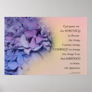 Poster Pois rose pourpre d'harmonie d'hortensias de