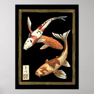 Poster Poisson rouge de Koi de deux Japonais sur