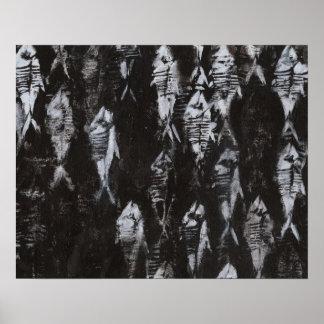 Poster Poissons blancs fossiles sur l'arrière - plan noir