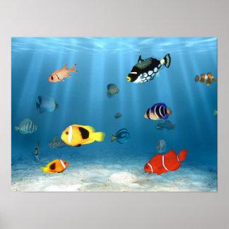 Poster Poissons dans l'océan