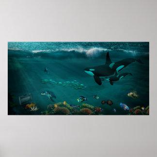 Poster Poissons sous-marins de tortues de mer d'épaulards