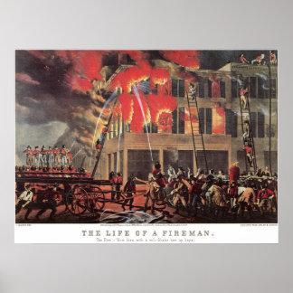 Poster Pompiers vintages d'affaires, pompier de pompiers