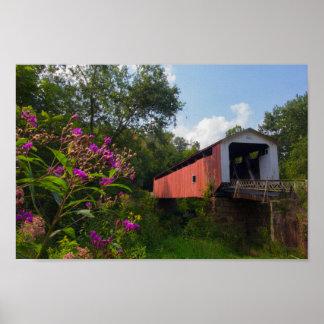 Poster Pont couvert de collines, Ohio
